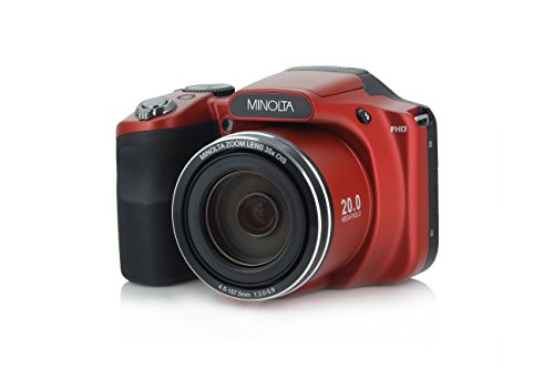 Minolta 20 Mega Pixels WiFiDigital Camera with 35x Optical Zoom & 1080p HD Video Optical with 3-Inch LCD, 4.8 x 3.4 x 3.2, Red (MN35Z-R)