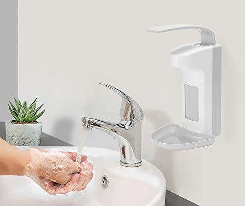 Winbang Dispensador de jabón, 500 ml, bombas de pared, dispensador de jabón de pared, dispensador de desinfección para inodoro, cocina, dispensador de palanca de plástico ABS con bandeja antigoteo