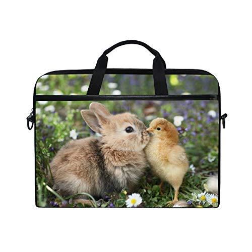 Laptop Bag Briefcase Best Friends Bunny Rabbit Easter Chick Shoulder Messenger Tablet Bag Business Carrying Handbag Working Computer Bag Fit 15-15.4 inch MacBook