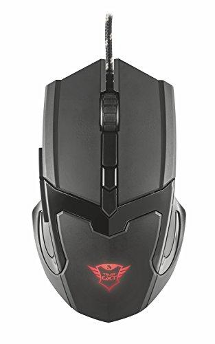 Trust Gaming GXT 101 21044, Mouse da Gioco, Illuminato a 4800 DPI, Dotato di 6 Pulsanti, Nero
