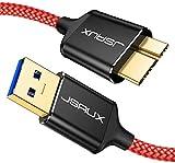 JSAUX Cavo Micro USB 3.0, Cavo USB A a Micro B [2 Pezzi, 1m+2m] Cavo per Disco Rigido Esterno Cavo Intrecciato in Nylon per Samsung Galaxy S5, Nota 3, Disco Rigido Seagate, Disco Rigido WD-Rosso