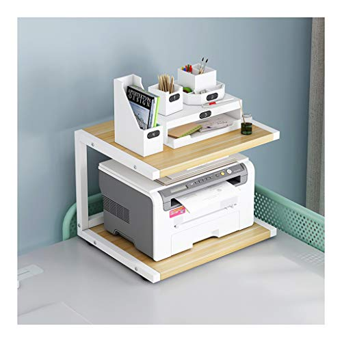 Printer Stand Printer Stands Paper Organizer for Home and Office, Multifunctional Desktop Organizer with 2-Tier Shelves Save Space Under Desk Printer Stand (Color : White)