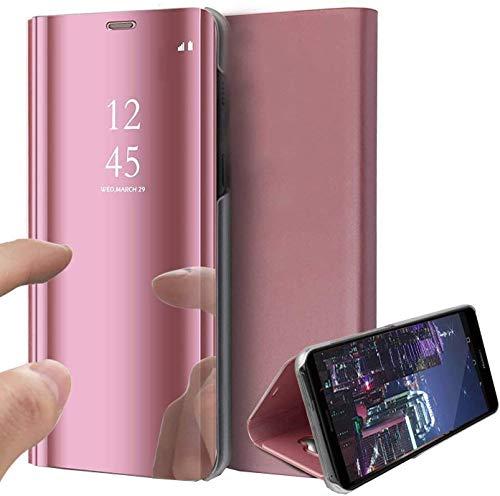 Samsung S10 fodral, bokstil klar vy spegel repsäker helkropp skyddande flip folio ultratunt vikbart stativ fodral för Samsung Galaxy S10 Plus (Samsung S10 Plus, rosa guld)