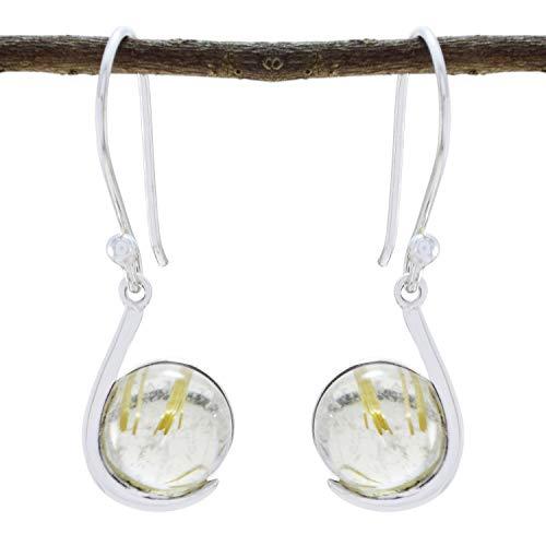 gute Edelsteine Cabochon Rutil Quarz Ohrringe - 925 Silber gelb Rutil Quarz gute Edelsteine Ohrring - Versorgung Schmuck feinen Verkauf Artikel Geschenk für Muttertag Namen Ohrring