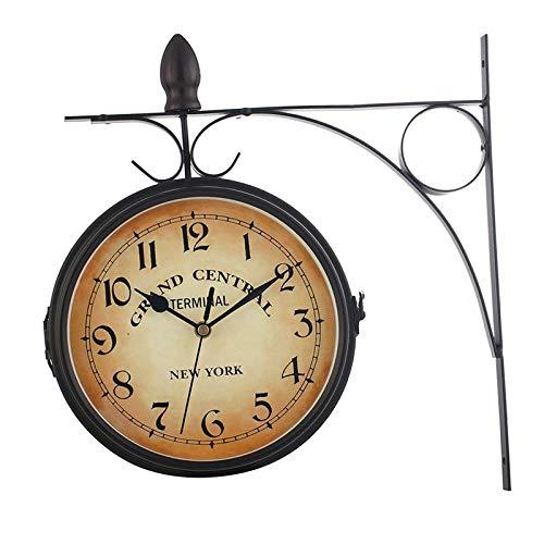 H HILABEE Estación de Pared de Jardín Adorno de Reloj Soporte de Doble Cara Reloj Giratorio