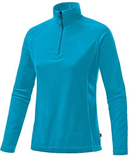Medico Damen Ski Shirt, 100{22da89ea4583eda82d7759ad2b78a99a001c3cafea2da8706057478230f6c407} Polyester, Fleece, langarm, Reißverschluss (Persian Blue, 44)