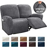 H.VERSAILTEX 6-Pieces Recliner Loveseat Covers Velvet Stretch Reclining Couch Covers for 2 Cushion Sofa Slipcovers Furniture Covers Form Fit Customized Style Thick Soft Washable(Medium, Grey)