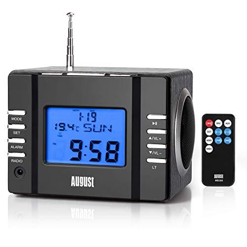 August MB300 Radiowecker FM Uhrenradio mit MP3 Player Stereoanlage Thermometer SD 3.5 Line – In Buchse Alarmton per Radio MP3 oder einfachem Alarmton Sleep Timer Infrarotfernbedienung komplett schwarz