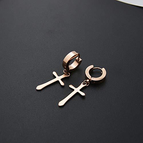 WSXEDC Creolen,Exquisite Charmante Rose Goldene Kreuz Fransen Edelstahl Ohrring Für Frau Männer Jubiläum Abschlussfeier Back-to-School