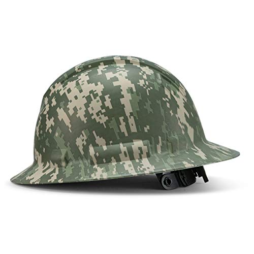 Full Brim Customized Ridgeline ABS Hard Hat, Custom Digital Jungle Camo Design Safety Helmet, with 6 Point Suspension, Flag Decal Included, by Acerpal