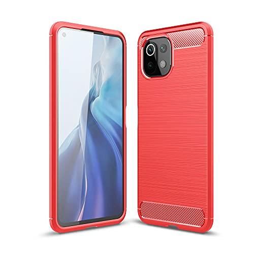 JIAFEI Funda Compatible con Xiaomi Mi 11 Lite, Diseño de Textura de Fibra de de disipación de Calor, Fibra Carbono Suave Silicona Funda, Rojo