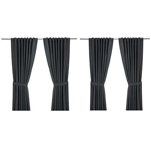 IKEA Ritva Curtain Set - Size: 57 x 98 (2 Curtain Pairs, Gray)