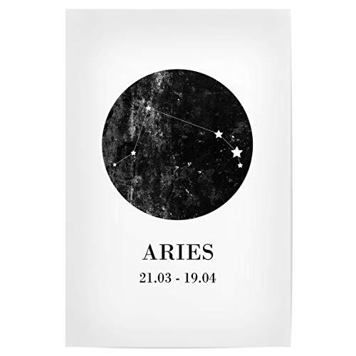 artboxONE Poster 30x20 cm Typografie Widder hochwertiger Design Kunstdruck - Bild Aries Zodiac Widder