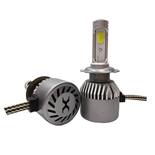 J&J Gpusi Kit pour phares de voiture, 72 W, LED COB, 12 000 lm, 6000 K, blanc, feux de croisement ou de route, modèle H1 H7 H4 haute qualité, bague d'adaptation amovible, installation facile H7
