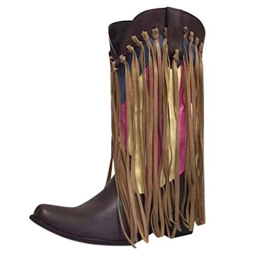 Botines De Altos Tacón Mujer, ALISIAM Mezcla de Colores Borla Dedo del pie Puntiagudo Zapatos Moda Otoño Invierno de tacón bajo Botas de Caballero Occidental 35-43