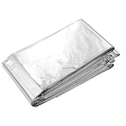 Emergency Warm Blanket Survival Blanket Aluminum Foil Polyester Film Insulation Blanket Very Suitable for Outdoor Hiking Camping First Aid Kit (84 Inches X 52 Inches)