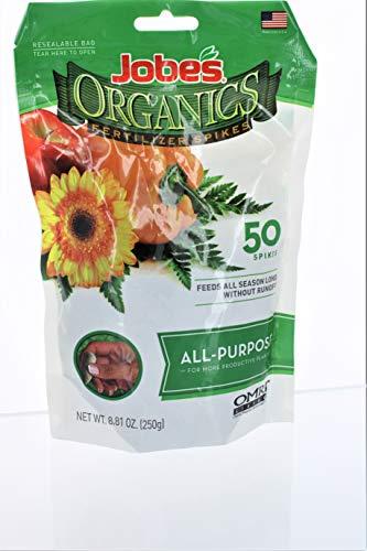 Jobes 06528 Organics All Purpose Fertilizer Spikes 4-4-4 50 Count