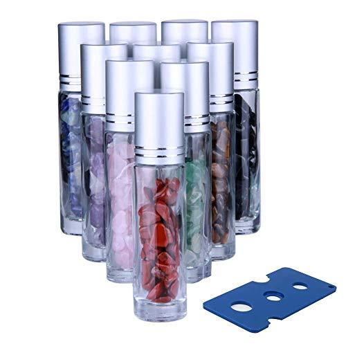 Ätherische Öle Roller Glasflaschen Roll on Flasche Leer 10ml für ätherisches Öl Glasroller Nachfüllbarer Behälter für ätherische Öle Edelstein-Rollerball für ätherische Öle AromatherapieDuft 10 Stück