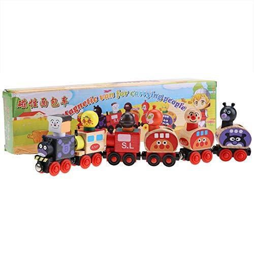 Hztyyier 6 Unids Juego de Tren de Madera Mini Juego de Juguete de Tren Magnético Bloques de Vehículos de Dibujos Animados Niños Juguete Educativo Regalo de Niños