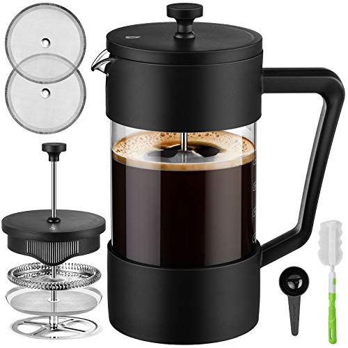 Veken French Press Coffee & Tea Maker 34oz, Thickened Borosilicate Glass Coffee Press with 3 Filter Screens, Rust-Free and Dishwasher Safe, 100% BPA Free, Black