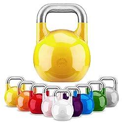 GORILLA SPORTS® Kettlebell Competition 16 kg Stahl Gelb – Wettkampf Kugelhantel