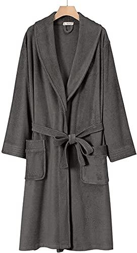 Pijama Bata de lujo unisex kimono, bata de baño, con bolsillo de cinturón Terry Paño vestido de vestir Traje de encaje (Color : Gray, Size : XL)
