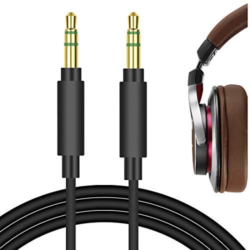 Geekria QuickFit Ersatz-Audiokabel für Audio-Technica ATH-MSR7, ATH-SR5, ATH-AR3BT, Denon AH-MM300, AH-MM200, Pioneer SE-MS7BT, HDJ-700 Kopfhörer, 3,5 mm Stereo-Kopfhörerkabel (Schwarz, 1,7 m)
