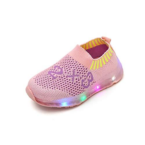 Chaussures Enfants, IMJONO Filles garçons Nombre imprimé Lumineux Lumineux Sport Maille étudiant Chaussures (24 EU, Rose)