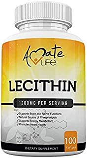 Soy Lecithin 1200mg Capsules Supplement for Heart, Liver & Brain Health – Supports Immune & Brain Function & Healthy Metabolism - Non-GMO & Made in The USA- 100 Softgels / 1200mg by Amate Life
