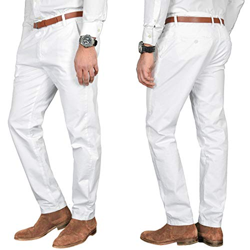 A. Salvarini Herren Designer Business Chino Hose Chinohose Regular Fit AS-095 [AS-095 - Weiss - W36 L32]