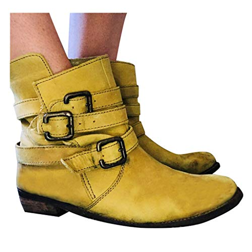 Discover Bargain Womens Flat Buckle Strap Ankle Boots Girls Comfortable Round Toe Leather Motorcycle...