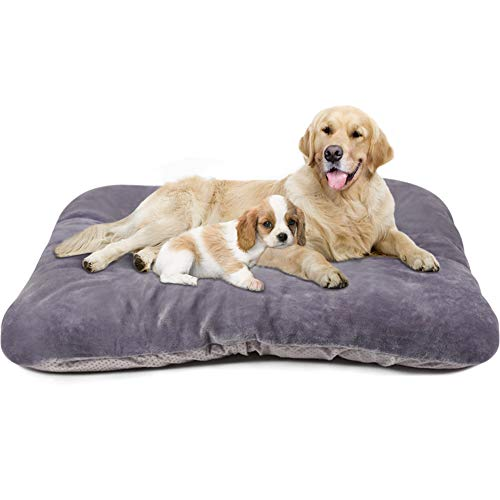 Magic Dog Large Dog Bed Jumbo Crate Pad Mat with Removable Cover Washable Pet Mattress Non Slip Kennel Sleeping Beds Grey XL Bed Mats