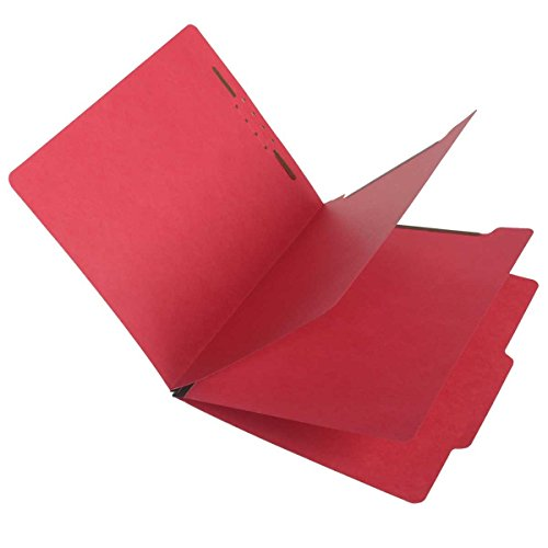 SJ Paper S59707 Match 15 Pt. Red Classification Folders, 2/5 Cut ROC Top Tab, Letter Size, 2 Dividers (Box of 25)
