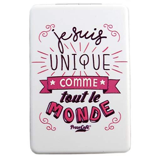 Les Trésors De Lily [Q2826] - Miroir de poche 'Messages' blanc (je suis Unique comme tout le monde) - 8.5x5.5 cm