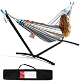 Hammock with Heavy Duty Steel Stand, Double Hammock, Portable Hammock with Carrying Case for Yards, Beaches, Parks, Balconies (Size: 116×42×44in)