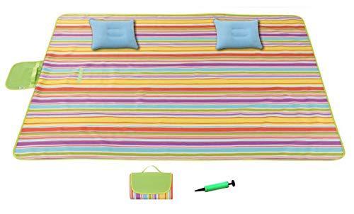 Chinch 80 x 198,1 cm übergroße tragbare Picknickdecke, 2 aufblasbare Kissen, feuchtigkeitsfest, sanddicht, geeignet für 3–7 Erwachsene, übergroße Strandmatte, Reisen, Camping, Wandern