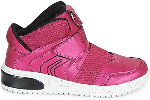 Geox Girls J XLED A Sneaker, Fuchsia/Black