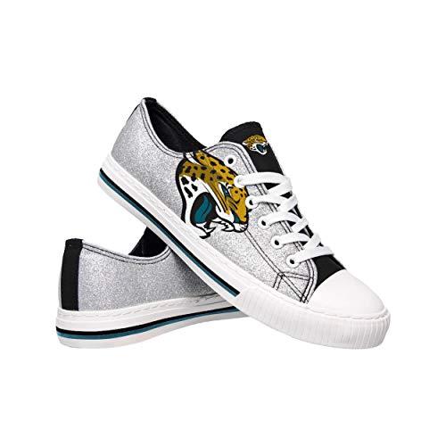 FOCO NFL Jacksonville Jaguars Womens Ladies Glitter Low Top Canvas Sneaker Shoesladies Glitter Low Top Canvas Sneaker Shoes, Team Color, 10/XX-Large