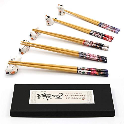 Juego de 5 pares de palillos y palillos, soporte para palillos de gato de la suerte, 5 gatos, palillos reutilizables naturales de bambú de estilo japonés clásico, apto para lavavajillas (Cute cat)