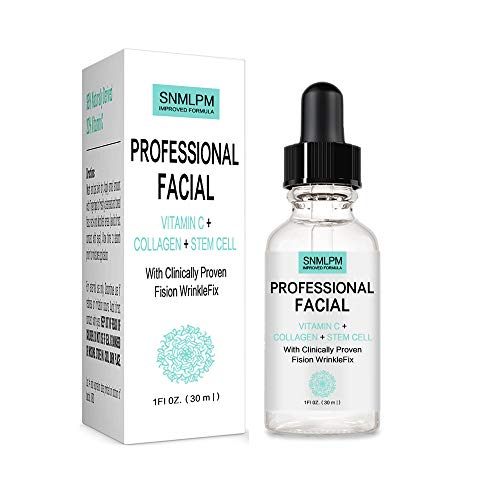 Professional Facial Infused with Clinically Proven Fision Wrinkle Fix, Collagen, Stem Cell, and Vitamin C to Help Lift and Firm Face Under Eye Dark Circles Anti Aging Serum 1 fl oz