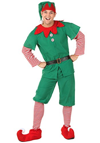 Adult Holiday Elf Costume Christmas Elf Costume for Men Large Green
