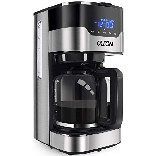 quiet coffee machine - Outon Coffee Maker 12 Cup, Programmable Drip Coffee Maker, Multiple Brew Strength, Auto Shut Off, Keep Warm, Compact Coffee Machine with Glass Carafe & Reusable Coffee Filter, Black Stainless