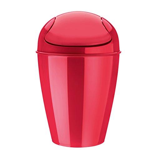 koziol Schwingdeckeleimer 12 L Del M,  Kunststoff, solid himbeer rot, 29 x 29 x 44,5 cm