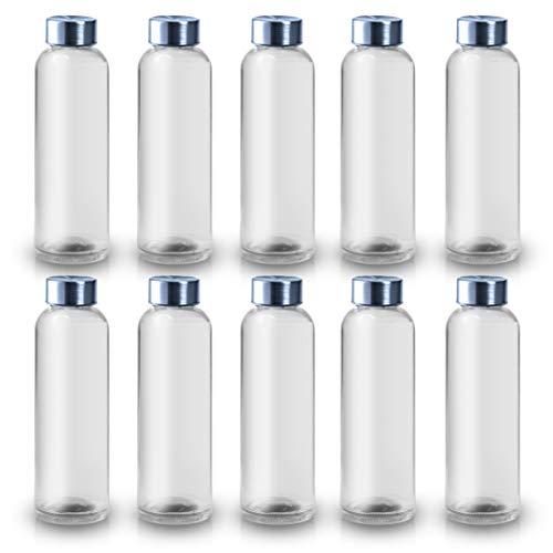 ShyaWorld Botella De Cristal para Agua Cuerpo de Acabado Transparente Tapón a Rosca en Acero Inoxidable. Cajas Individuales por Botella. (Transparente, 500ml (10PCS))