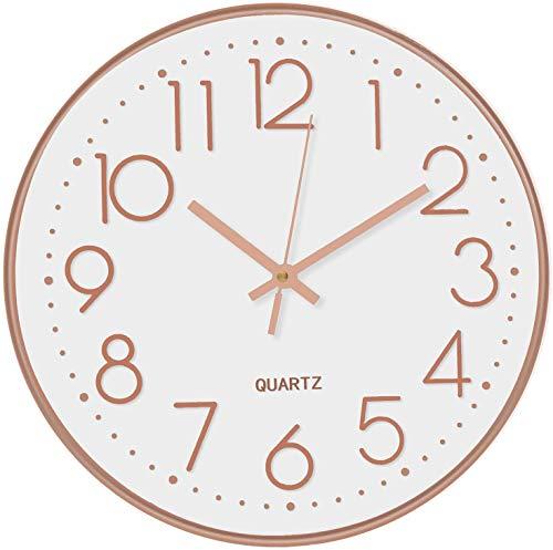 Lisedeer 30 cm, Orologio da Parete al Quarzo, Rotondo, Silenzioso, Senza ticchettio, per Ufficio, casa, Scuola (Oro Rosa, 12 Pollici)