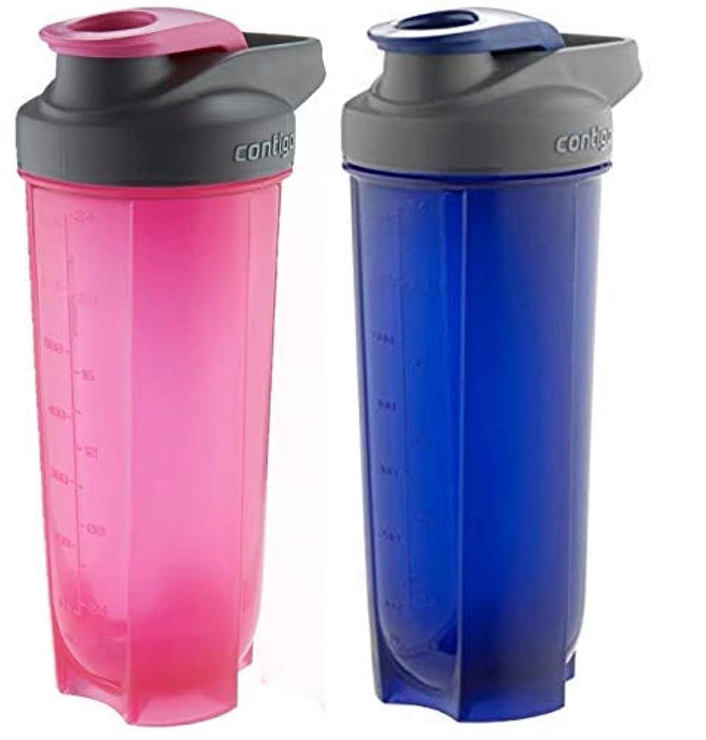 建築課す建物Contigo Shake & Go Fit Bottles, 28 Oz / 828 ml Each, Two Pack, Pink & Blue, His & Hers Shaker Bottles [並行輸入品]