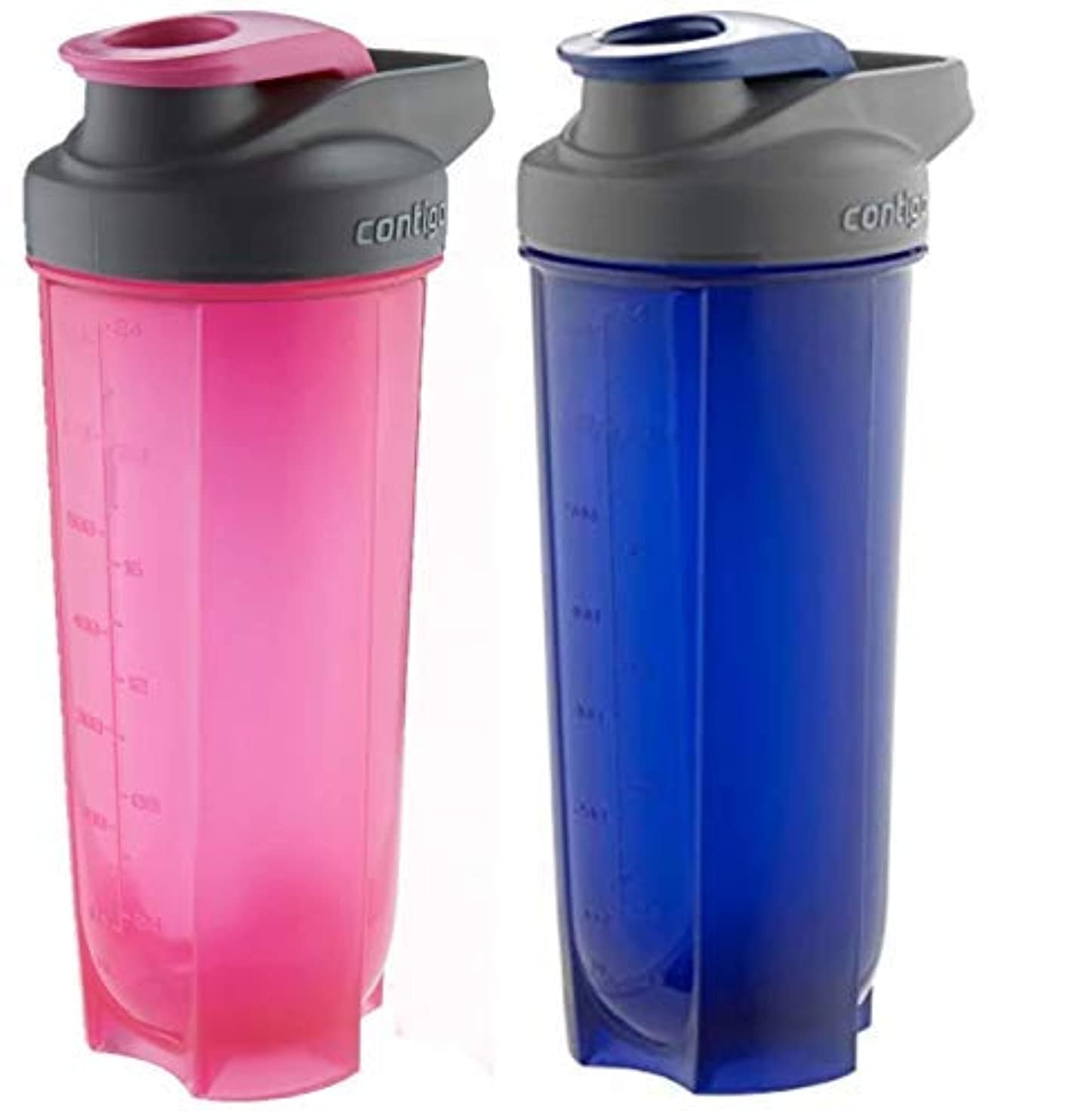 梨謎手Contigo Shake & Go Fit Bottles, 28 Oz / 828 ml Each, Two Pack, Pink & Blue, His & Hers Shaker Bottles [並行輸入品]