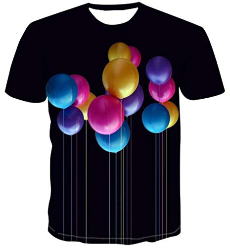T-shirts camouflage ballon patroon licht katoen zwart top unisex ronde hals korte mouwen outdoor fijn T-shirt