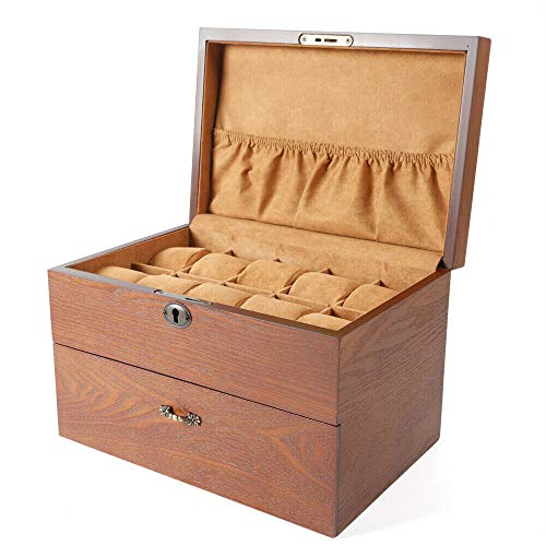 Uhrenbox, 20 Fächer Uhren Uhrenaufbewahrungsbox Organizer Uhrenkasten Holz Schmuckschatulle Verschließbare Uhrenbox für Herrn Dame Freund Freundin (mit oberlicht)