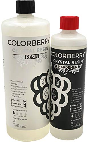 COLORBERRY Crystal Resin 2:1 - Premium Gießharz/Epoxidharz Created In Germany - Kunstharz, Pouring, Fluorid Art 750ml (500ml Resin, 250ml Härter)